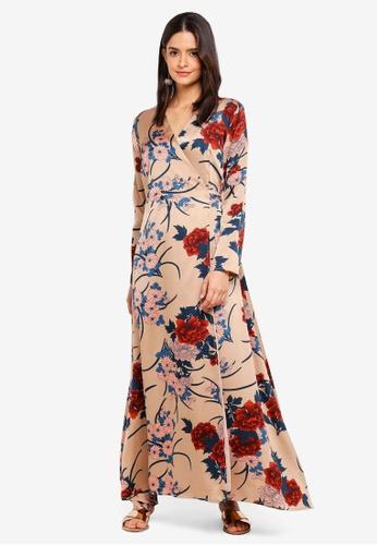 d6d835e6eae Zalia beige Printed Wrap Dress 90A25AA704B2E6GS 1