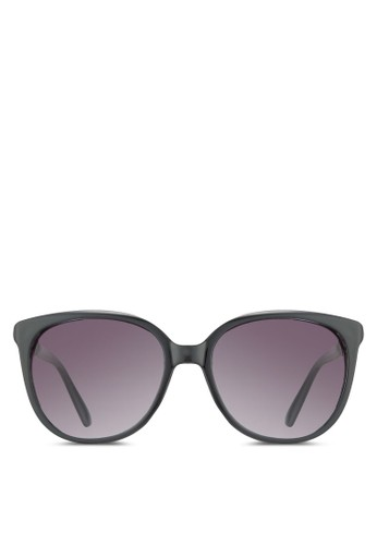NUVesprit 兼職EAU 斜格紋飾圓框太陽眼鏡, 飾品配件, 圓框
