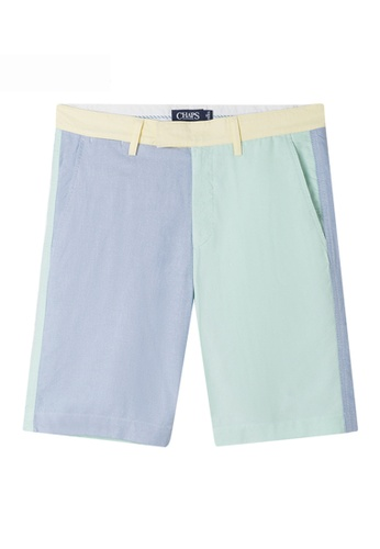 Chaps green and blue Chaps Colorblocked Oxford Shorts CH325AA65EZIMY_1