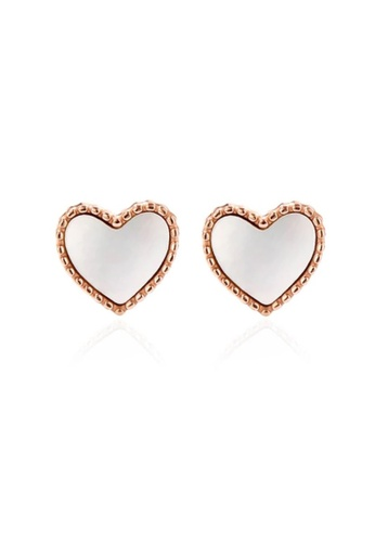 CELOVIS white and gold CELOVIS - Esme Love Heart with White Mother Pearl Inlay Stud Earrings 5E6AFACE939C23GS_1