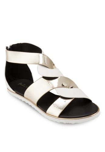 雙色亮面交叉涼鞋esprit holdings limited, 女鞋, 鞋