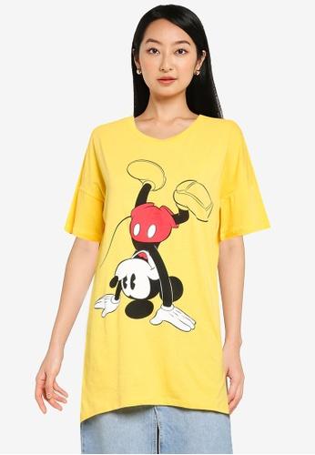 KOTON yellow Oversized Mickey T-Shirt 2728BAAEE434B0GS_1