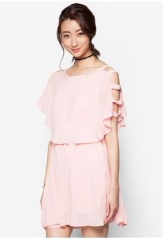 Bare-Shouldered Chiffon Layered Dress