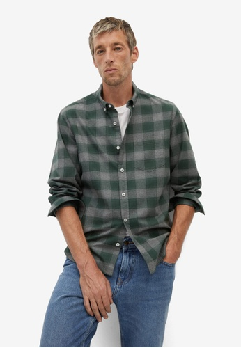 Mango Man green Regular Fit Check Cotton Shirt 602D1AA1F91EC3GS_1