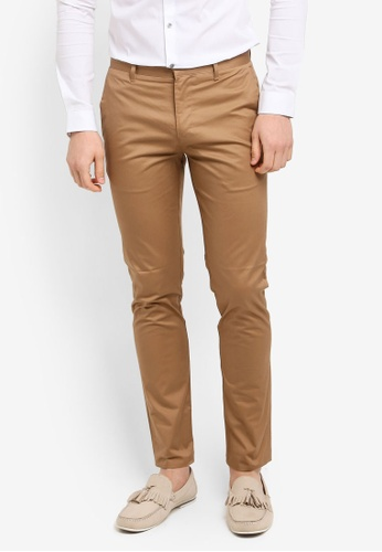 River Island brown Alectrona Skinny Chino Trousers 60BF5AA14D6F5AGS_1