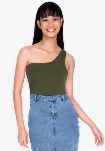 ZALORA BASICS green One Shoulder Top 9E3E0AA766E73CGS_1