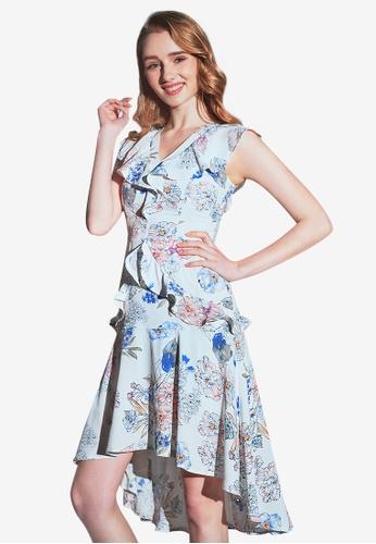 c0b58e80e Buy O'MUSES Lotus leaf V-collar Printing Maxi Dress | ZALORA HK