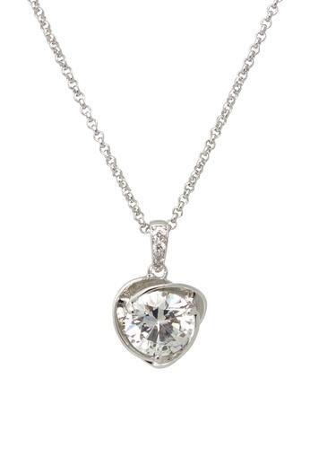 Jaysa Collection silver Elven Heart Palladium Necklace with AAA Zirconia JA875AC36SYHSG_1