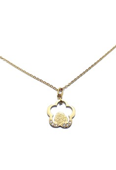 Stainless Steel Flower Wreath Necklace (Gold)