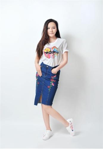 ce0e5f5ccc Crystal Korea Fashion blue Korean Style Pop Flower Pattern Elastic Denim  Skirt CR681AA17GUKHK_1