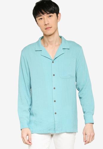 ZALORA BASICS blue Revere Collar Linen Blend Shirt 6ED83AA0C3E5E6GS_1