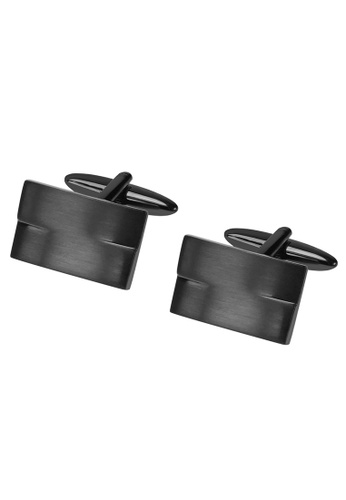 CUFF IT black Brush Gunmetal Rectangle Cufflinks 12D8CAC74E6BF9GS_1