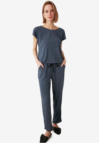 Trendyol 海軍藍色 Drawstring Pajamas Set 08E4CAAB6D5504GS_1
