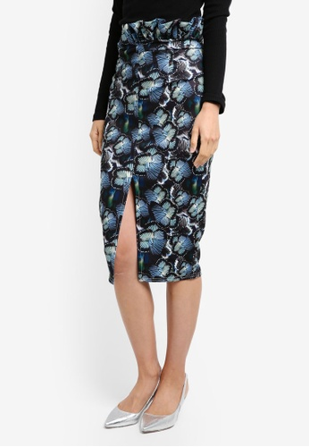 LOST INK navy Butterfly Print Ruffle Pencil Skirt LO238AA0T1SDMY_1