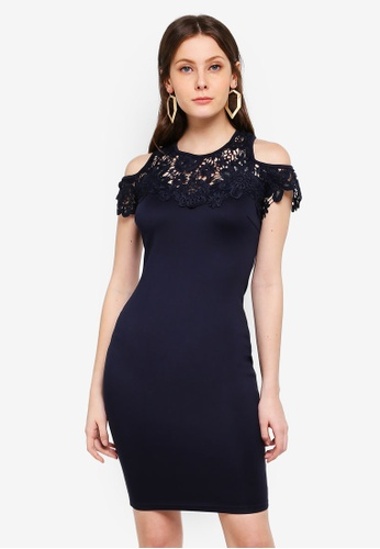 AX Paris navy Cold Shoulder Crochet Dress E30A2AA8FA7ACCGS_1