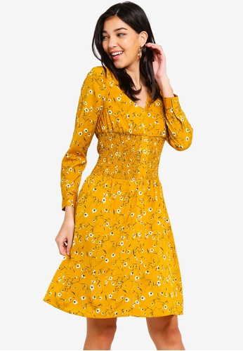 ZALORA yellow and multi Button Down Smocking Dress 1C28DAA274B080GS_1