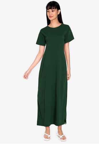 ZALORA BASICS green Open Back Maxi Dress D0CAEAA53E6E97GS_1
