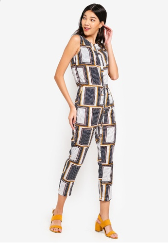 ZALORA white and multi Button Down Jumpsuit FD2E0AA0C5B90FGS_1