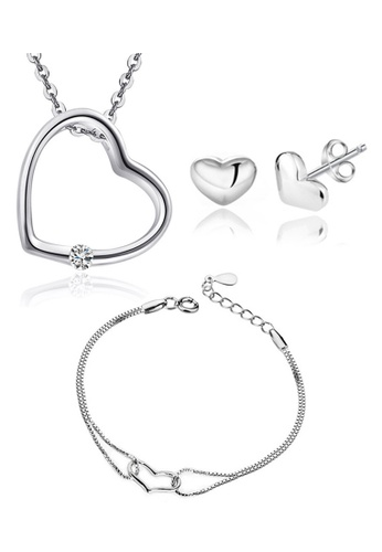 YOUNIQ silver YOUNIQ Simple Love 925 Sterling Necklace Pendant with Cubic Zirconia Necklace, Earrings & Bracelet Set (Silver) YO999AC67NSMMY_1