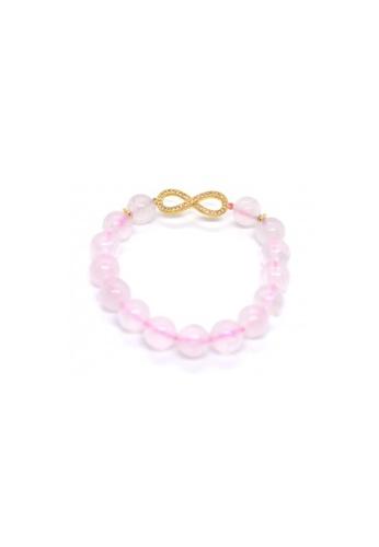 Shinju Pearls pink and gold SHINJU PEARLS-Rose Quartz with Infinity Bracelet AD882AC0A60D27GS_1