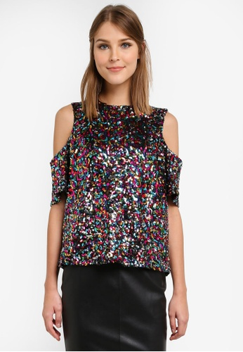 Dorothy Perkins multi Sequin Cold Shoulder Top DO816AA0SD40MY_1