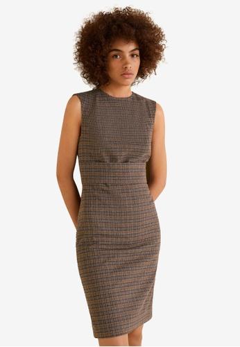 Mango brown Check Shift Dress CFEFFAA72FFA14GS_1