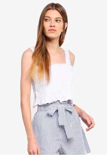 Cotton On white Louise Shirred Co Ord Top 9373FAA84D76F4GS_1