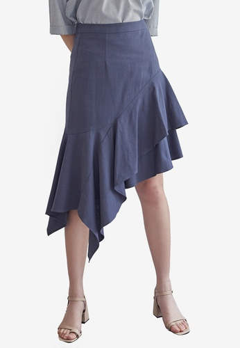 NAIN navy Linen Asymmetric Flare Skirt F0B73AA4ED8138GS_1