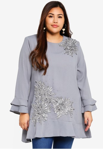 BYN grey Plus Size Muslimah Blouse 484A4AAD841291GS_1