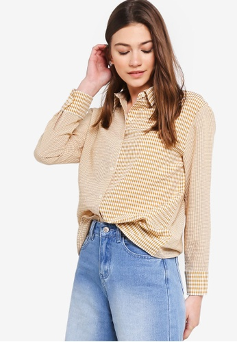 Something Borrowed yellow Contrast Checks Oversized Shirt 54077AA1D2D833GS_1