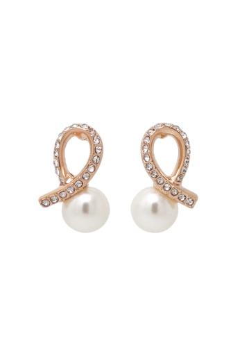 Jaysa Collection gold Rose Gold Ribbon Loop Pearl Earrings JA875AC0FG6LSG_1