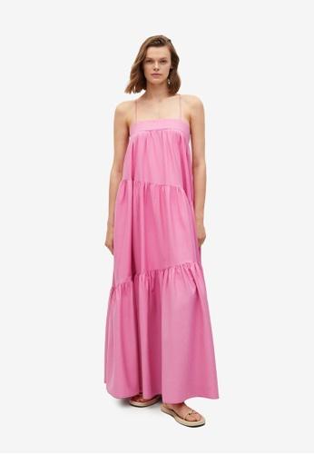Mango pink Frill Cotton Dress 19B6FAA166B6D7GS_1