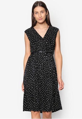 esprit 高雄裹飾V 領點點印花連身裙, 服飾, 洋裝