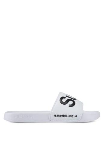 Superdry black and white Superdry Pool Slide B7D6BSH87E64BFGS_1