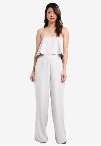 MISSGUIDED grey Crepe Frill Wide Leg Jumpsuit 816CFAAEAF93E1GS_1