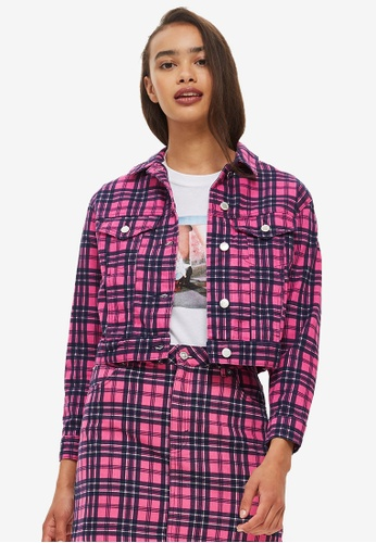 TOPSHOP 粉紅色 Pink Checked Denim Jacket 1C0C3AA0528926GS_1