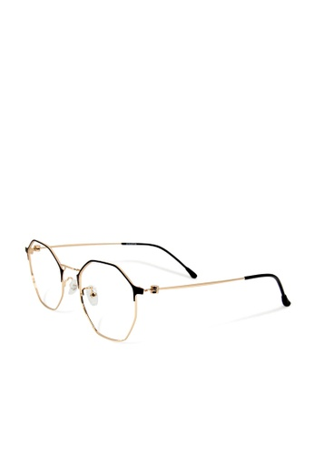 ASLLY gold and brown Toscana│Anti-blue light glasses with super light Gold titanium frame 87987GLBFBC84FGS_1