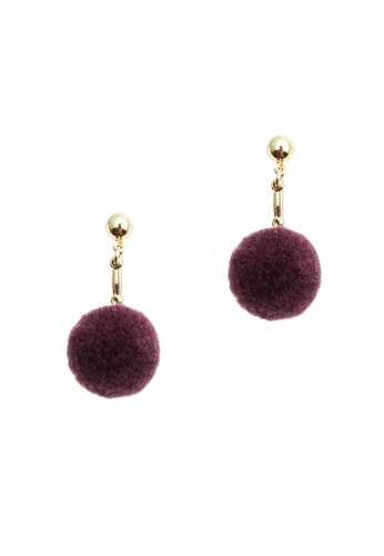 LUCCACAL purple Pom Pom Ball Drop Earrings 35DB5AC996E579GS_1