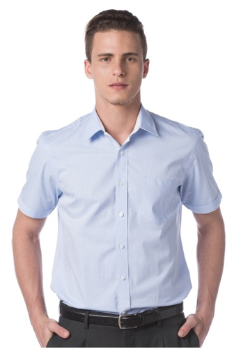 POLO HAUS blue Polo Haus - Woven Short Sleeve Shirt (Blue) PO783AA37MLUMY_1