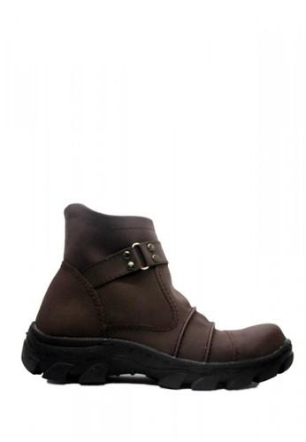 Cut Engineer brown Cut Engineer Slip On Zipper Safety Boots Leather Dark Brown 05833SHA87D9C1GS_1
