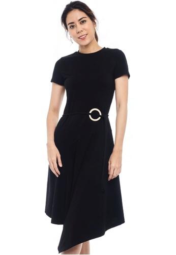 Nichii black Buckled A-Line T-Shirt Dress 2638EAABCB06A9GS_1