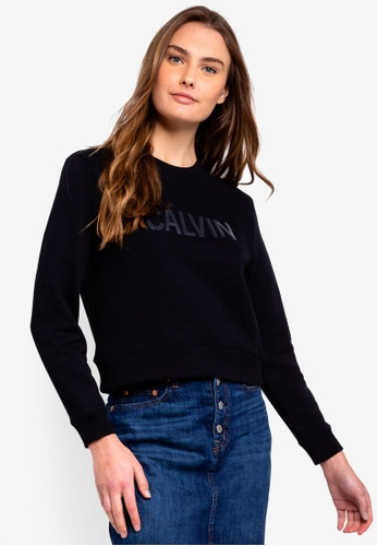 Calvin Klein black A-Institution Vinyl Sweatshirt - Calvin Klein Jeans A287AAACCDB9EEGS_1
