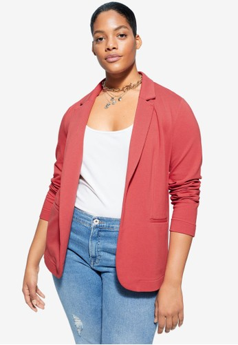 Violeta by MANGO red Plus Size Unstructured Suit Blazer B062AAAA81D59FGS_1