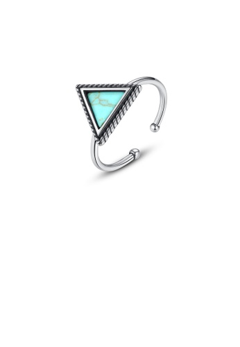 Glamorousky silver 925 Sterling Silver Fashion Simple Geometric Triangle Adjustable Open Ring 18417ACBA36CF1GS_1