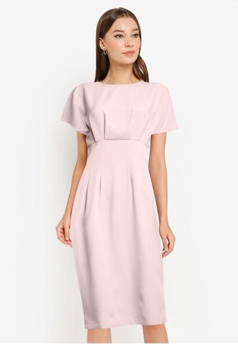 ZALORA WORK pink Wide Sleeves Sheath Dress 9063AAAFC113F9GS_1
