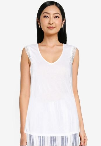 Springfield white Lace Shoulders T-Shirt E759CAA8B38DAEGS_1