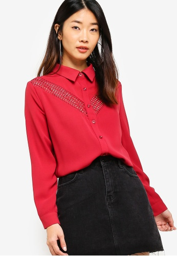 Something Borrowed red Lace Panel Oversized Shirt BF371AA9D7E679GS_1