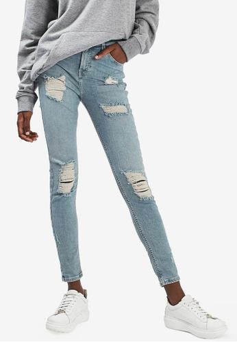 TOPSHOP blue Moto Bleach Let Hem Jamie Jeans TO412AA00PVRMY_1