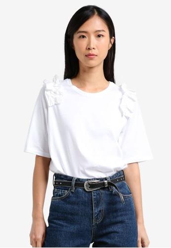Mango white Contrasting Frilled T-Shirt MA193AA0RXSEMY_1