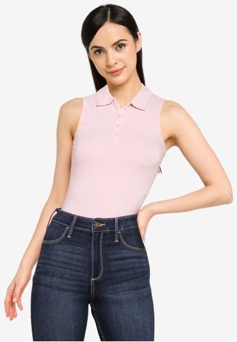 Hollister pink Bare Polo Shirt 88297AA5B6BCF7GS_1